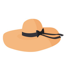 Women wide brim hat nice headwear isolated vector