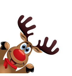 xmas drawing funny red nosed reindeer vector image