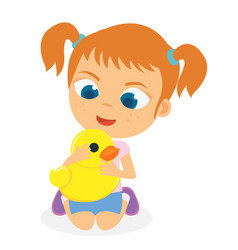 young girl playing her duck toy vector image