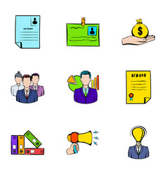 contract icons set cartoon style vector image vector image