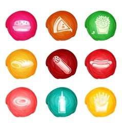 Fast Food Watercolor Set vector image