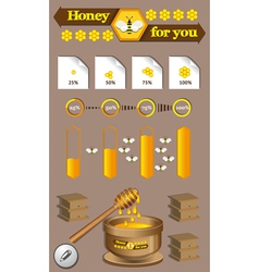 Honey and bees vector image vector image