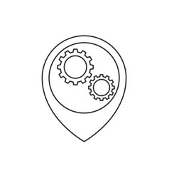 Map pointer with gears inside line icon vector