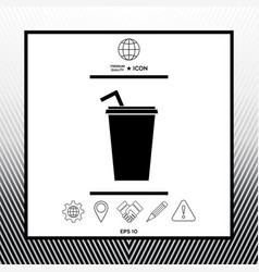 Paper cup with drinking straw icon vector