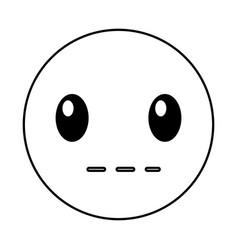 silent emoticon face kawaii style vector image vector image