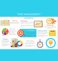 time management bright inforaphic internet poster vector image