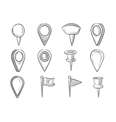 hand drawn map pointers doodle navigation pins vector image