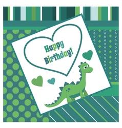 Happy birthday dinosaur card vector