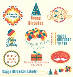 Happy Birthday Labels vector image vector image