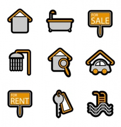house objects icons vector image