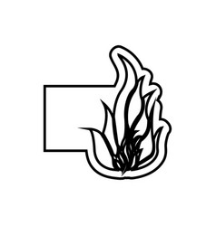 monochrome contour emblem with flame icon vector image