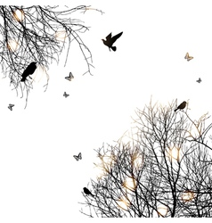 trees and birds vector image