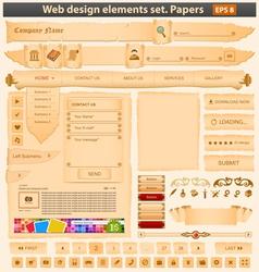 web design elements set paper vector image vector image