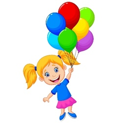 Young girl cartoon flying with balloon vector image
