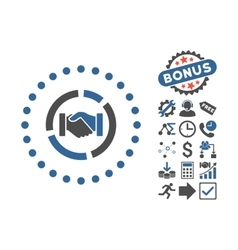 Acquisition Diagram Flat Icon With Bonus vector image
