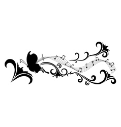 Doodle black abstract flowers and butterfly vector image vector image