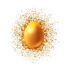 golden easter egg with glitter vector image