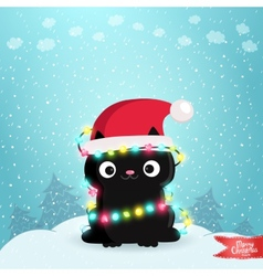 Merry Christmas greeting card with a black cat vector image vector image