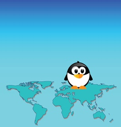 penguin and map of the world art vector image