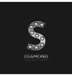 Silver S letter vector image vector image