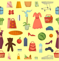 web shopping set food and commerce products vector image