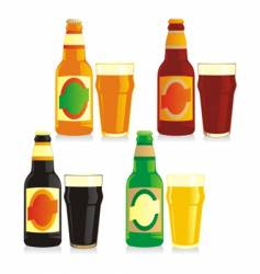 bottle and glasses of beer vector image vector image