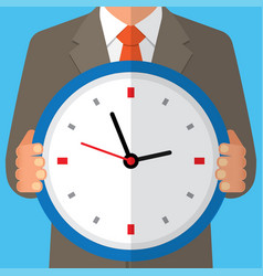 concept of time management human with clock vector image
