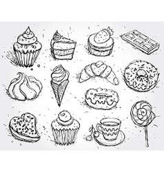 Hand drawn confectionery set croissant Cupcake vector image