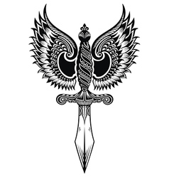 Ornate sword with wings vector image