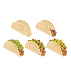 traditional mexican taco stages of preparation vector image