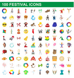 100 festival icons set cartoon style vector image