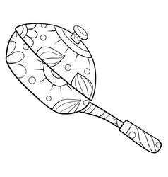 Adult coloring bookpage a cute fry pen vector