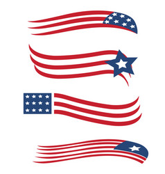 america usa star and stripes flag set vector image