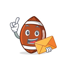 American football character cartoon with envelope vector
