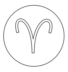 aries symbol icon black color in round circle vector image