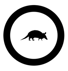 armadillo icon black color in round circle vector image