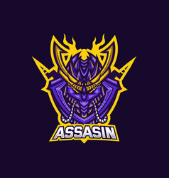 Assassin esport gaming mascot logo template for vector