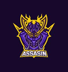Assassin esport gaming mascot logo template vector