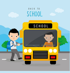 back to school bus road boy cartoon vector image