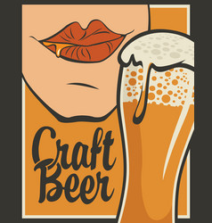 banner for craft beer with glass of beer vector image