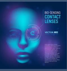bio-sensing contact lenses in realistic cyber vector image
