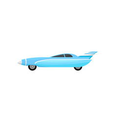 Blue racing car with silver stripes vintage vector