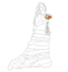 Bride with bouquet sketch vector