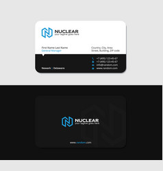 Business card with blue letter n as lightning vector