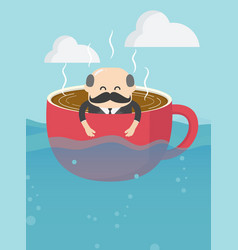 Businessman thinking good morning on a cup vector