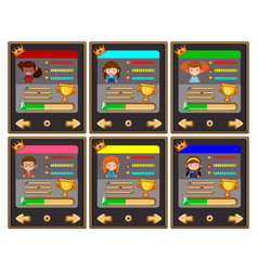 Card game template with characters and buttons vector