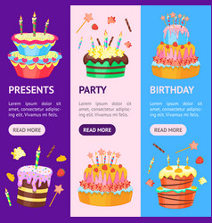 cartoon color cakes banner vecrtical set vector image