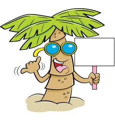 Cartoon palm tree wearing sunglasses and holding a vector