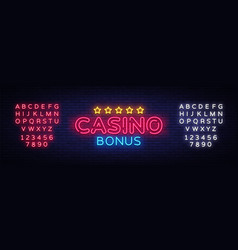 Casino bonus neon text bonus neon sign vector