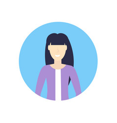 Caucasian businesswoman face avatar happy asian vector